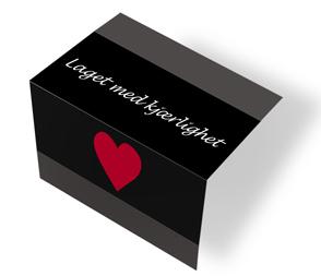 Laget med kjærlighet - svart/hvit midtfoldet
