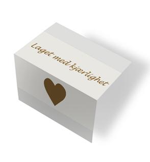Laget med kjærlighet - beige/brun midtfoldet