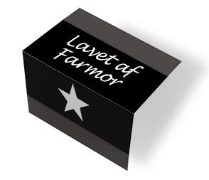 Lavet af Farmor - star - sort/hvid midtfoldet
