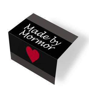 Made by Mormor - heart - svart/hvit midtfoldet