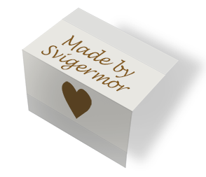 Made by Svigermor - heart - beige - midtfoldet
