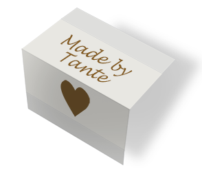 Made by Tante - heart - beige - midtfoldet